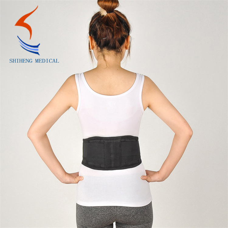 Self heating waist support belt with steel strip